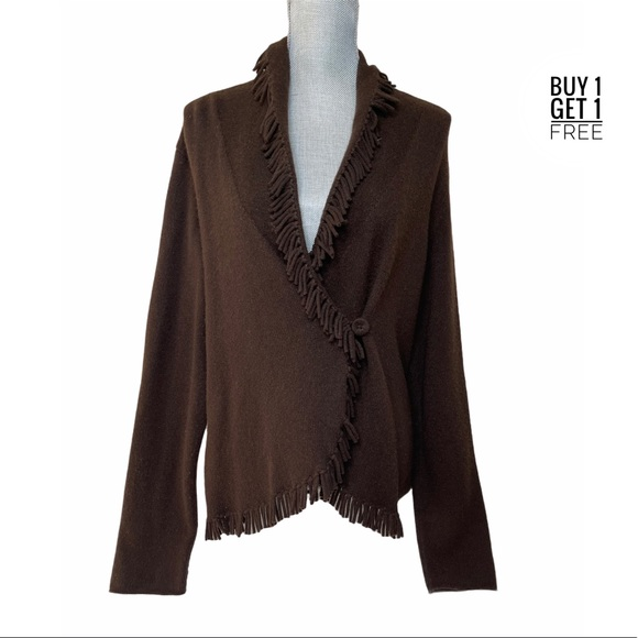Magaschoni  Brown Cashmere Fringe Wrap Sweater L